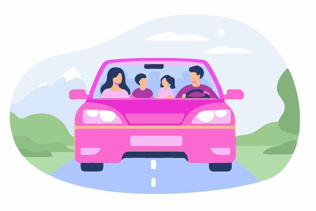 A family in their car