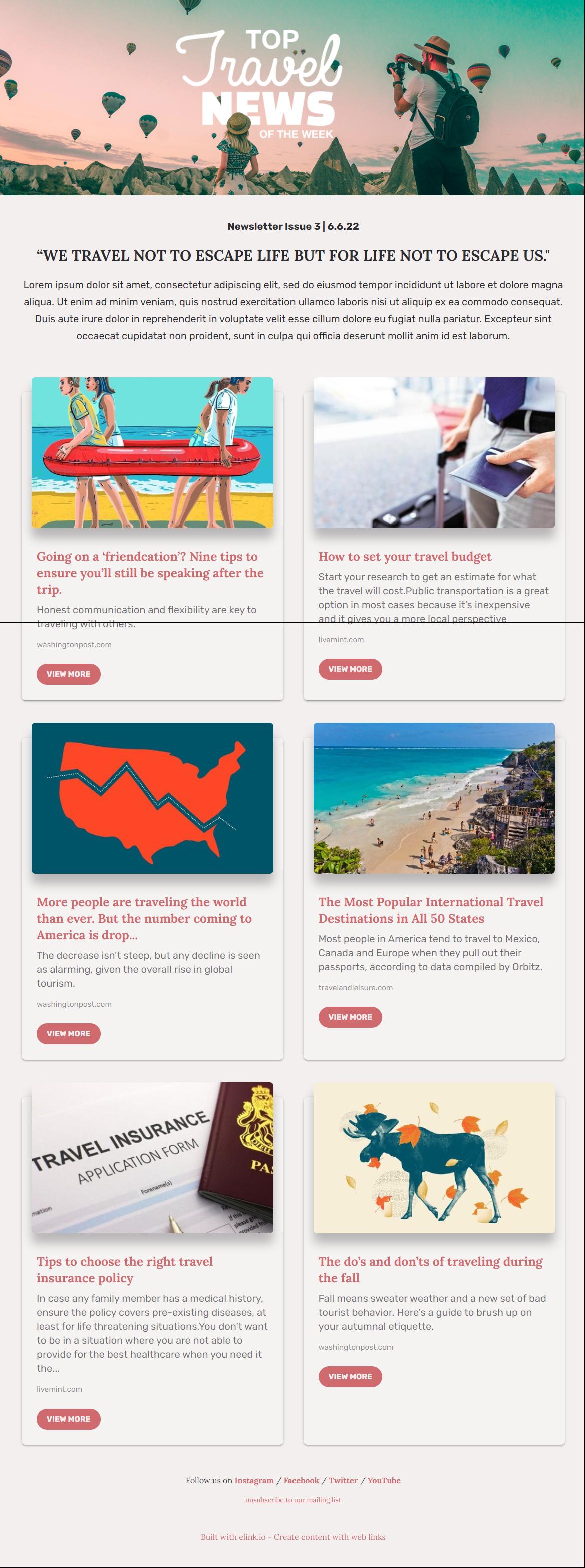 Travel news template
