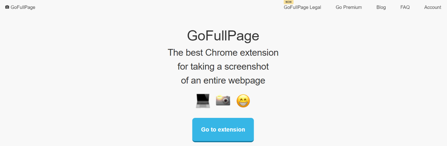 Full page screen capture:  Screenshot extension