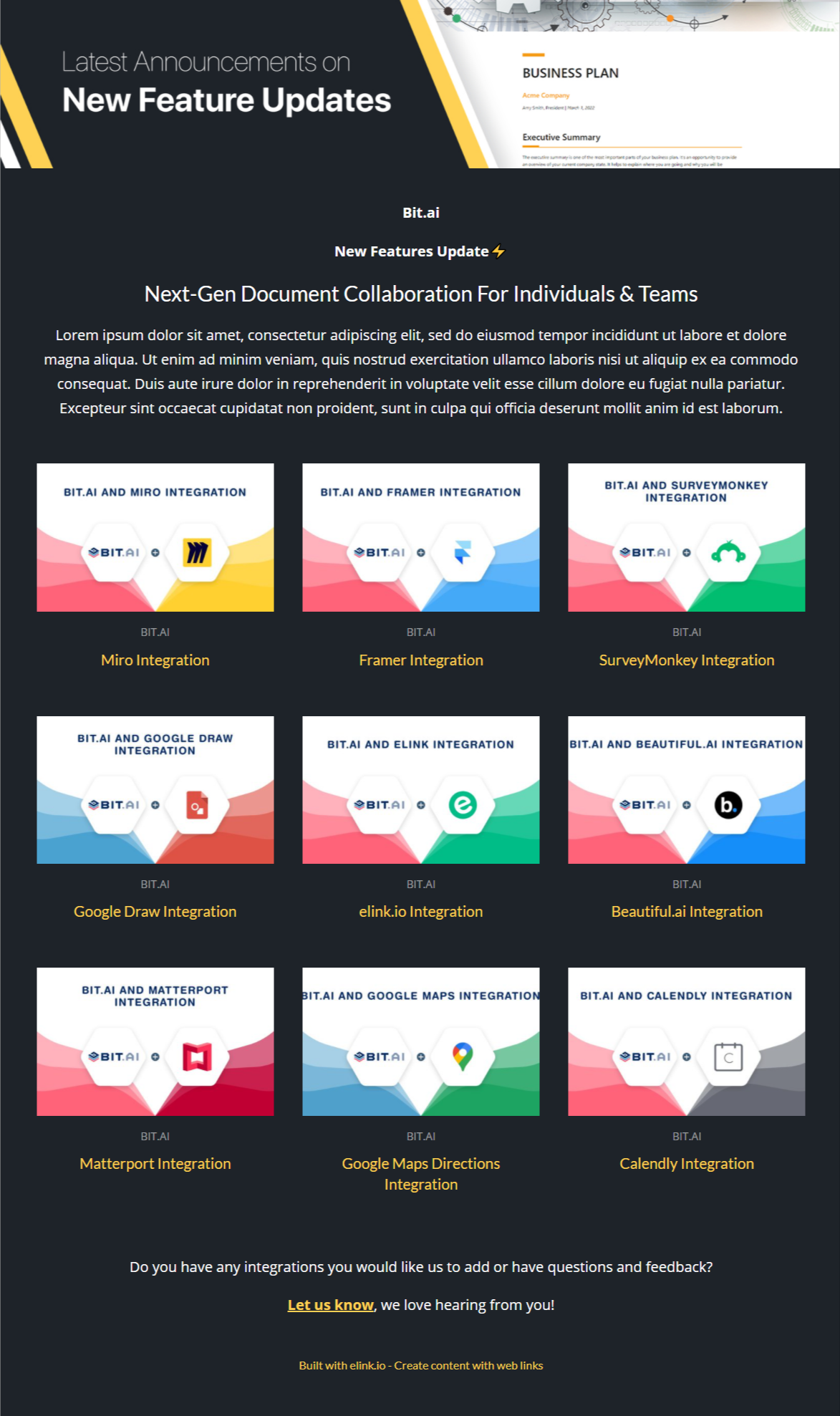 New features update newsletter template for businesses
