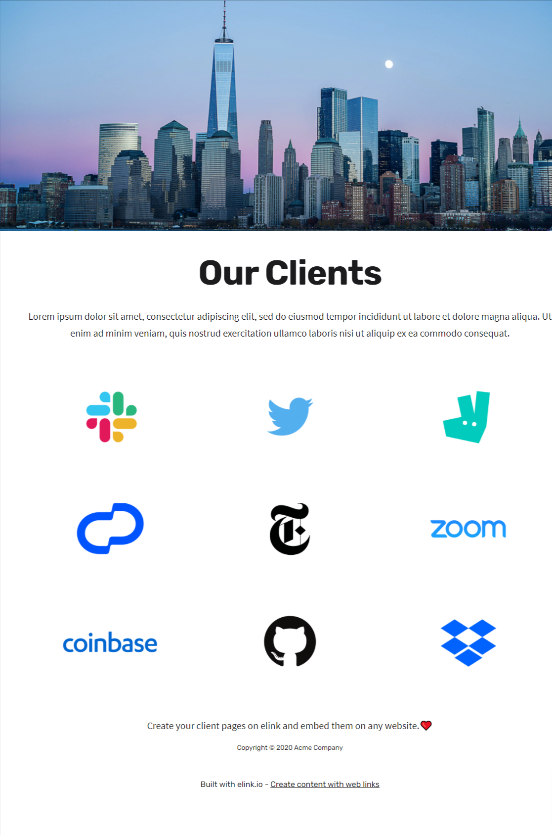 Client's page template for businesses