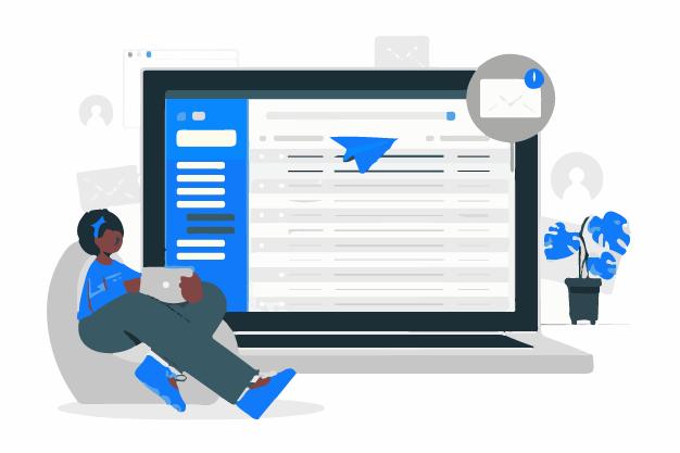 A marketer creating business newsletter