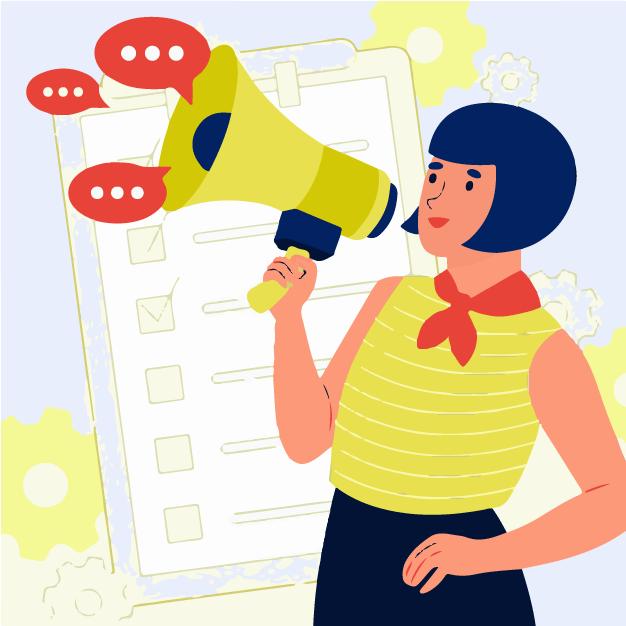 A lady marketing her blog