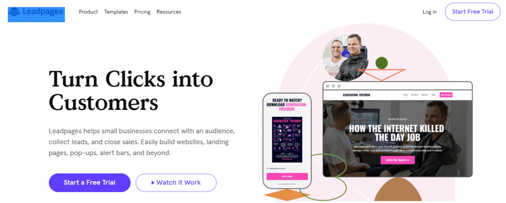 Leadpages: Tool for creating marketing collateral