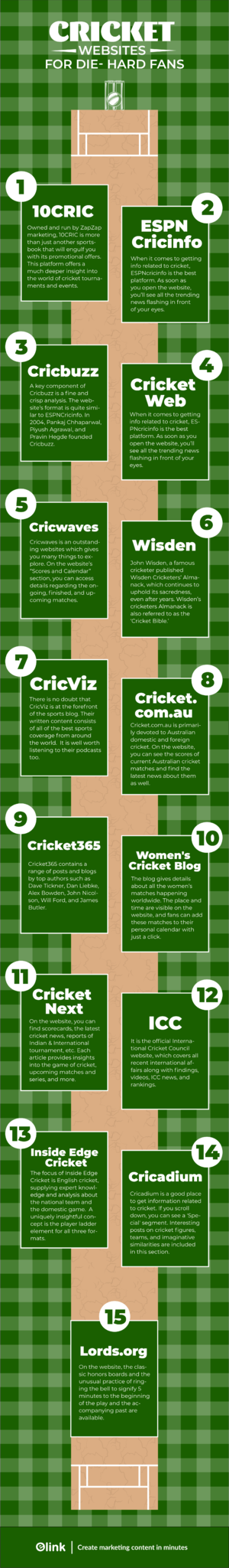 Cricket blogs and websites infographic