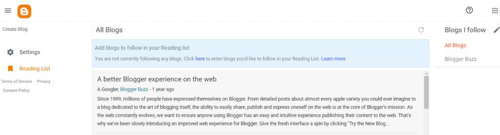 Blogger: Blog site
