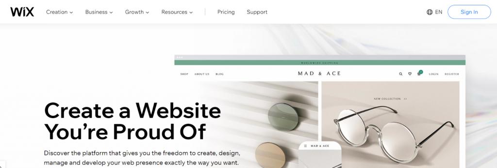 Wix: Blog site