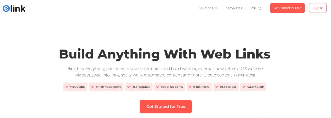 Elink.io: Tool for creating news feeds
