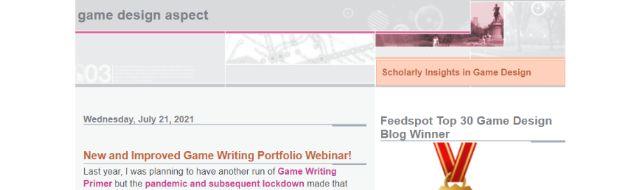 Game design aspect: Gaming blog and website