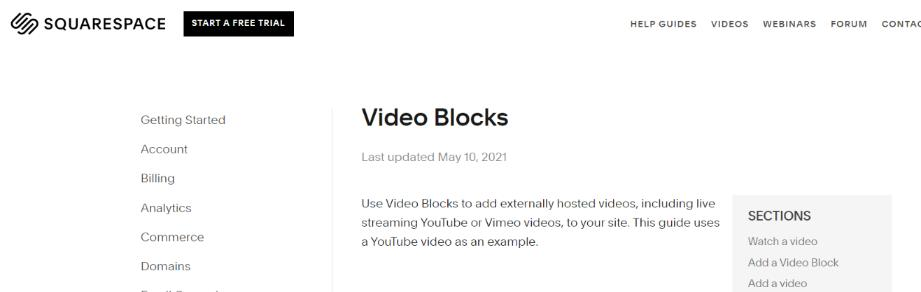 Video block: Squarespace intergration for embedding videos