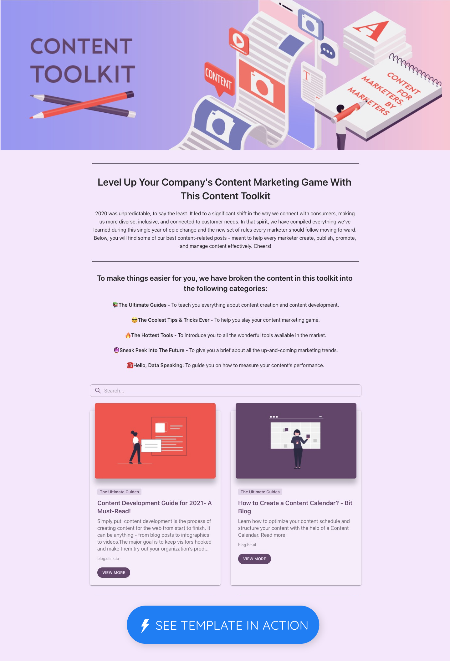 Content toolkit template