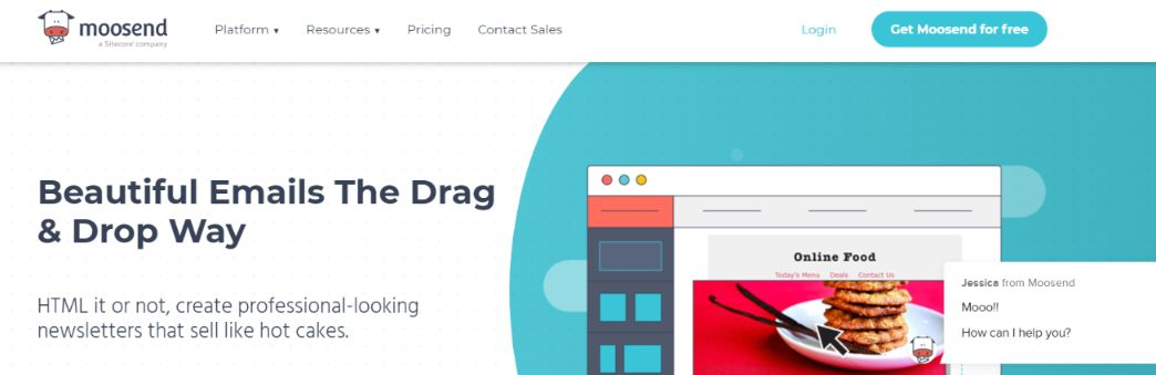 Moosend: Email template builder